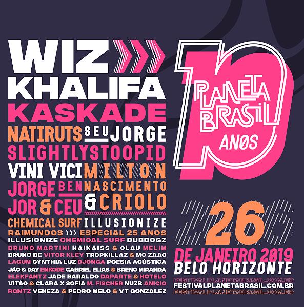 Lineup do festival Planeta Brasil, em 26 de janeiro em BH (Divulgação)