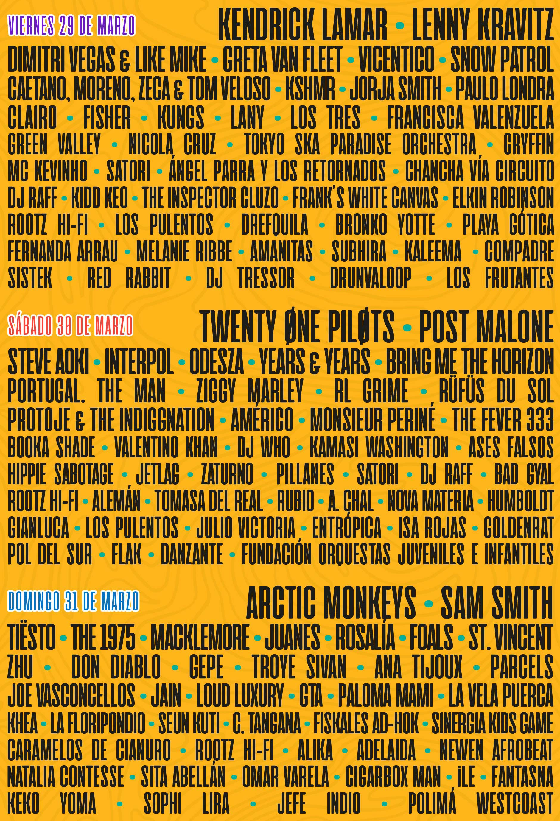 Lineup do Lollapalooza Chile 2019