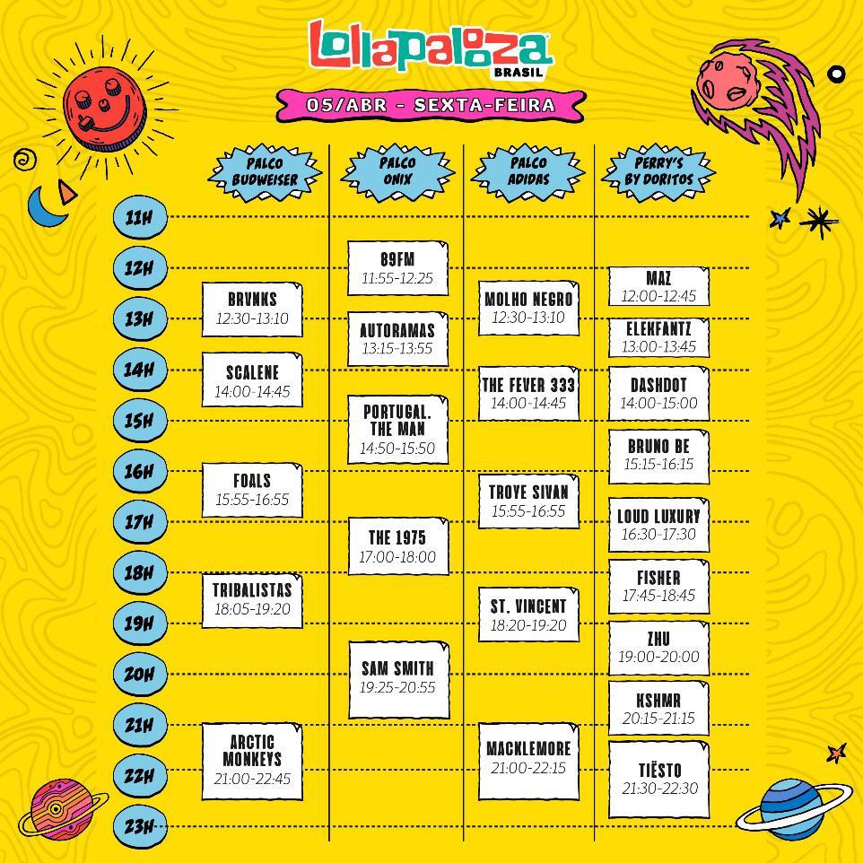 Horários dos shows do Lollapalooza 2019