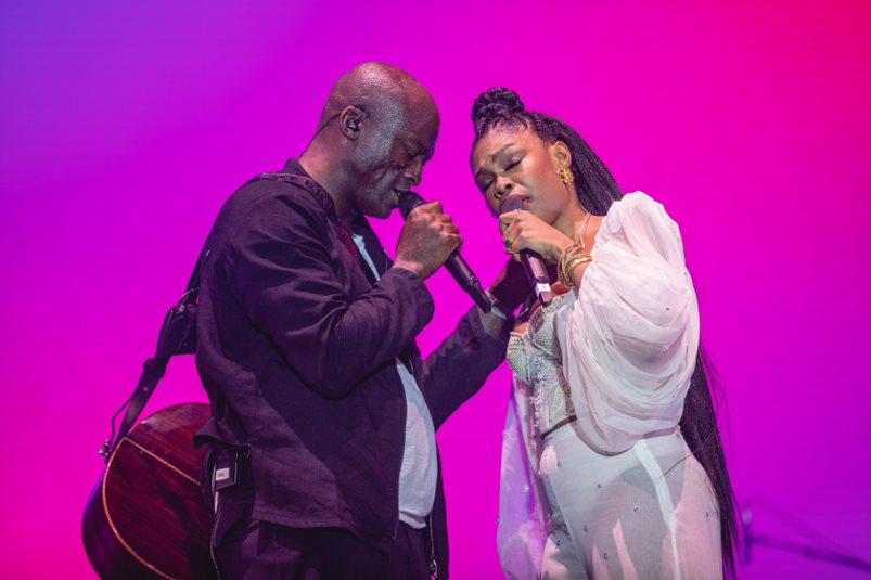 Seal e Xenia França no palco Sunset do Rock in Rio 2019 (Diego Padilha - 27.set.2019/Divulgação)