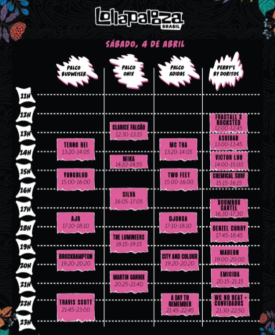 Hhorários Lollapalooza 2020 sábado (4)